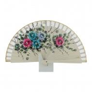 Abanico mini madera hielo flores pintadas