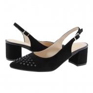 Zapatos destalonados piel ante con brillos