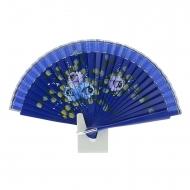 Abanico mini diseño azul con flores pintadas