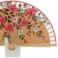 Abanico madera beige y flores diseño mini 102726