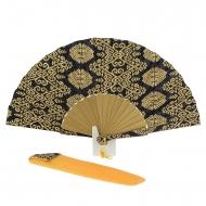 Abanico batik estampado negro y oro