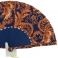 Abanico batik estampado marino y naranja 106988