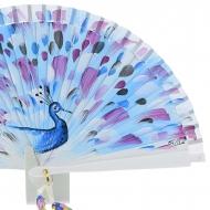 Abanico blanco diseño pavo real azul