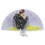 Abanico plata diseño flamenca mantón negro