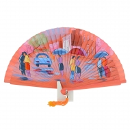 Abanico diseño coral gente cruzando calle