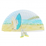 Abanico blanco diseño playa dos tablas surf