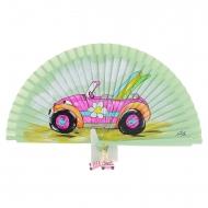 Abanico verde diseño coche rosa y tablas surf