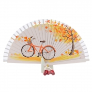 Abanico vintage bicicleta y árbol naranja