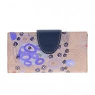 Billetero grande azul lona y piel Klimt Amichi