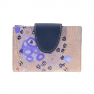 Billetero tarjetero Klimt Amichi lona y piel azul