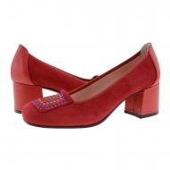 Zapatos piel ante rojo con tachas de colores