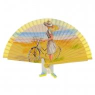 Abanico diseño amarillo dama y bicicleta