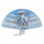 Abanico diseño azul dama y bicicleta