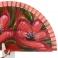 Abanico rojo diseño dos flores rojas pintadas 114688
