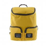 Mochila lona amarilla con asa y dos bolsillos