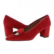 Zapatos tacón alto y punta fina piel ante rojo