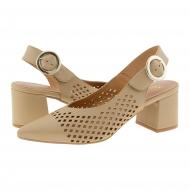 Zapatos destalonados con punta fina de piel