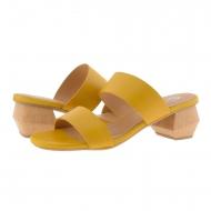 Zuecos medio tacón dos tiras piel lisa amarilla