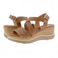 Sandalias cuña alta piel cuero tiras cruzadas