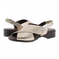 Sandalias planas piel oro tiras cruzadas