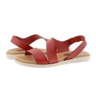 Sandalias planas piel lisa roja con elástico