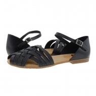 Sandalias piel negra estilo cangrejeras Porronet
