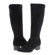 Botas negras piel serraje con mini tachas