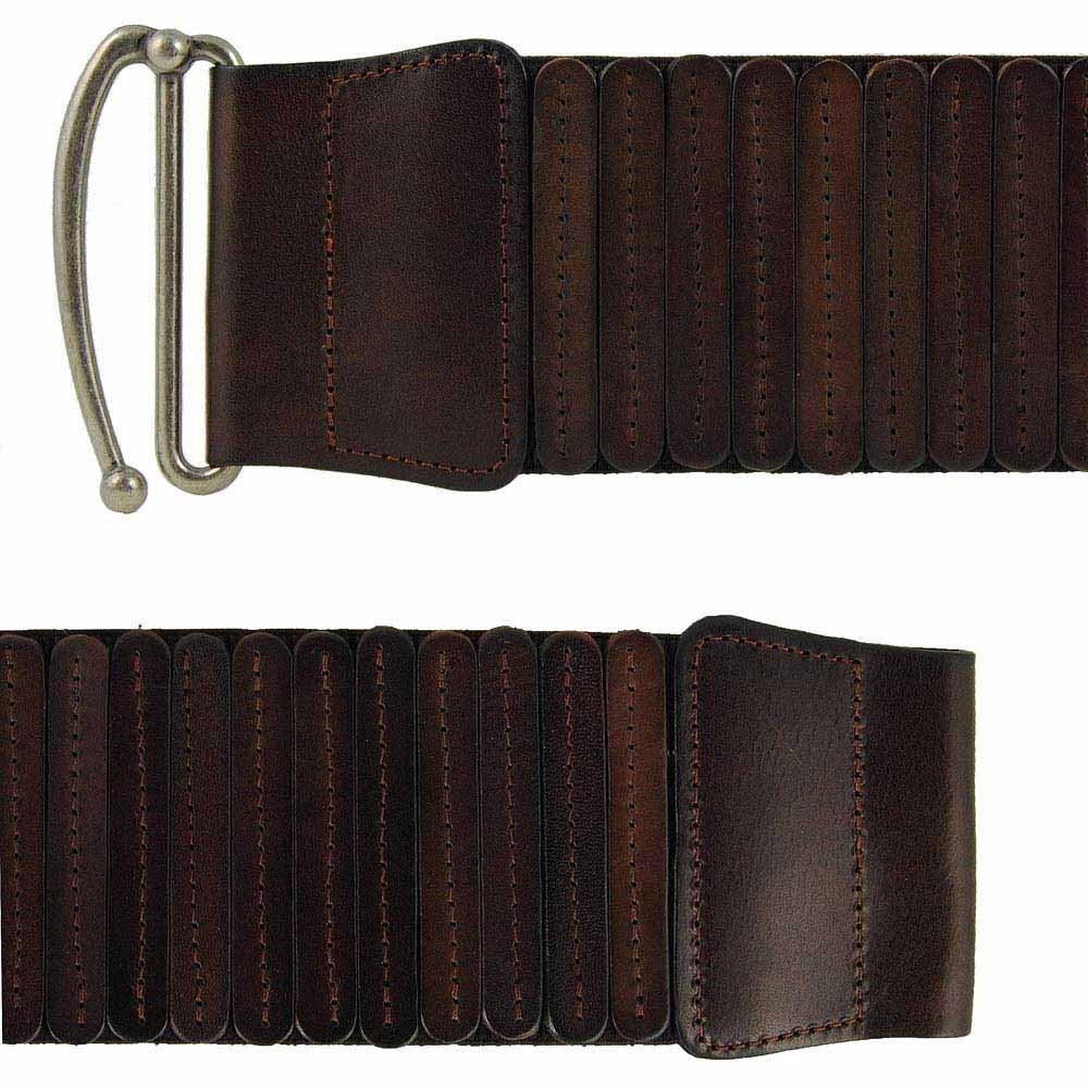 Cinturon  Dos vistas cinturón ancho elástico con piel marrón ... 03b1691578cd