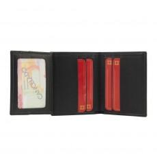 Billetera 8 tarjetas piel con rayas verticales