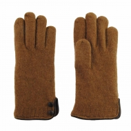 Guantes lana y botones piel