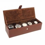 Caja para 5 relojes con la tapa forrada