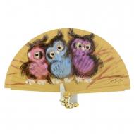Abanico madera diseño con tres búhos