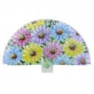 Abanico diseño verde flores de colores