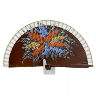 Abanico diseño mini flores madera cuero