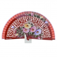 Abanico madera calada rojo con flores