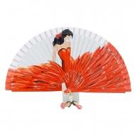 Abanico diseño flamenca traje rojo